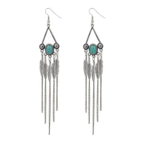 Buy Artificial Turquoise Triangle Fringed Leaf Earrings SILVER