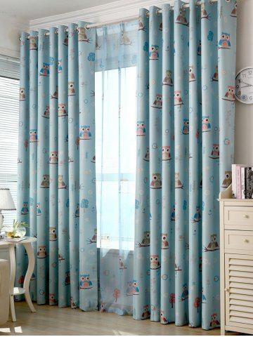 Outfit Cartoon Owl Pattern Polyester Window Curtain - W42INCH*L63INCH LIGHT BLUE Mobile