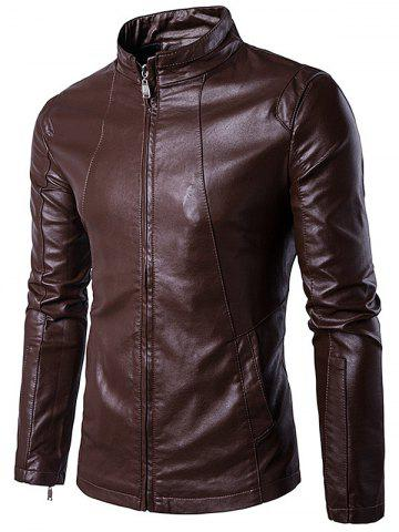 Buy Panel Design Zip Up PU Leather Jacket