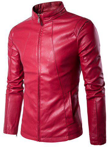Best Panel Design Zip Up PU Leather Jacket WINE RED 2XL