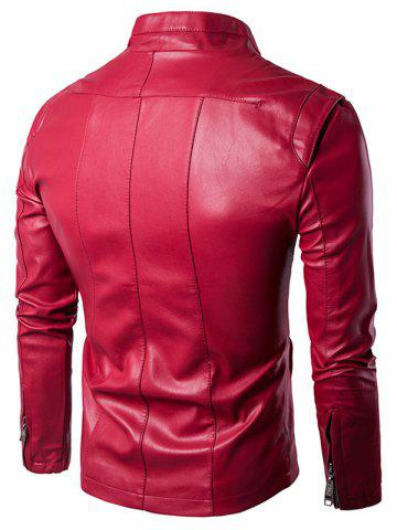 Cheap Panel Design Zip Up PU Leather Jacket - 2XL WINE RED Mobile