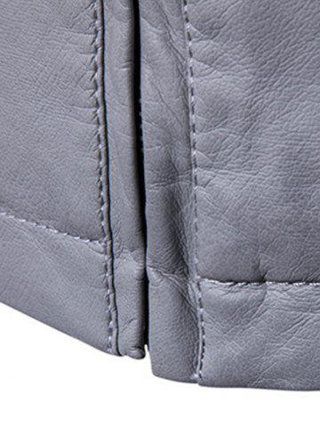 Discount Panel Design Zip Up PU Leather Jacket - L GRAY Mobile
