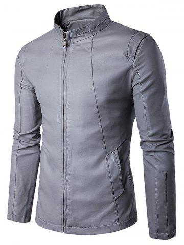 Affordable Panel Design Zip Up PU Leather Jacket GRAY L