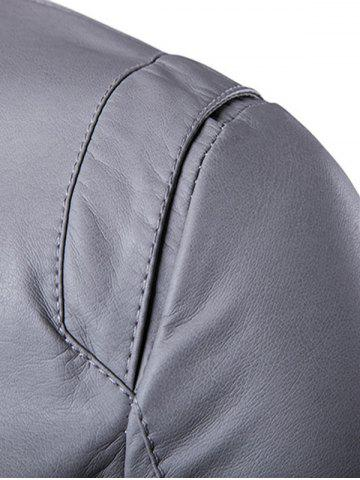 Trendy Panel Design Zip Up PU Leather Jacket - L GRAY Mobile