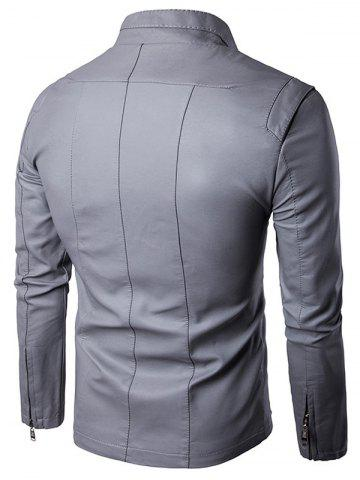 Fancy Panel Design Zip Up PU Leather Jacket - L GRAY Mobile