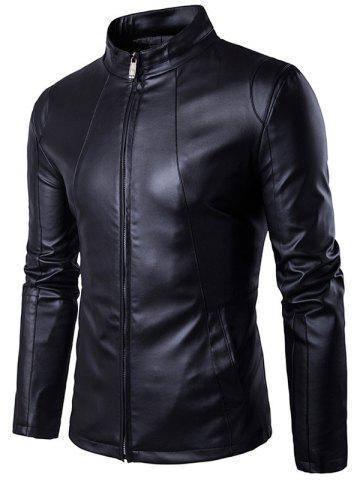 Discount Panel Design Zip Up PU Leather Jacket BLACK XL