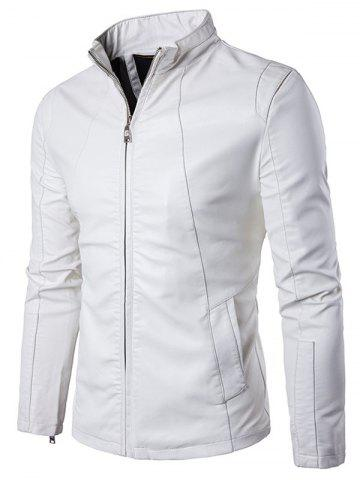 Buy Panel Design Zip Up PU Leather Jacket - 2XL WHITE Mobile