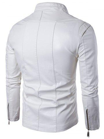 Hot Panel Design Zip Up PU Leather Jacket - 2XL WHITE Mobile