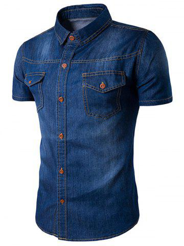 Turndown Collar Bleach Wash Pockets Casual Denim Shirt - Deep Blue - L