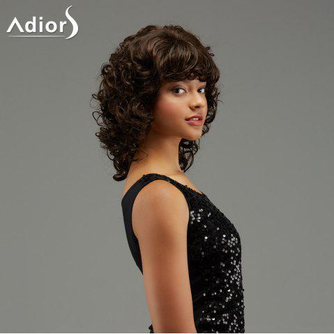 Fancy Adiors Medium Curly Hairstyle Full Bang Fluffy Synthetic Wig - BROWN  Mobile