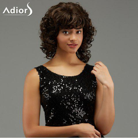Sale Adiors Medium Curly Hairstyle Full Bang Fluffy Synthetic Wig - BROWN  Mobile