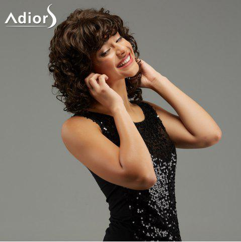 Outfits Adiors Medium Curly Hairstyle Full Bang Fluffy Synthetic Wig - BROWN  Mobile