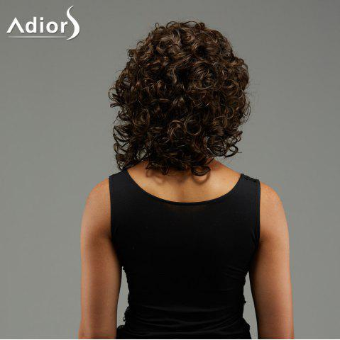 Trendy Adiors Medium Curly Hairstyle Full Bang Fluffy Synthetic Wig - BROWN  Mobile