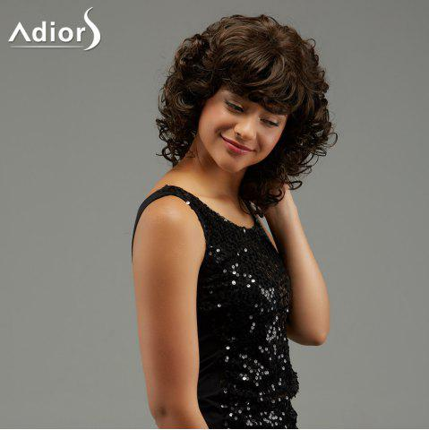 Latest Adiors Medium Curly Hairstyle Full Bang Fluffy Synthetic Wig - BROWN  Mobile