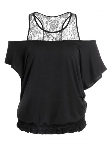 Best Batwing Lace Trim Elasticated Hem Top BLACK M