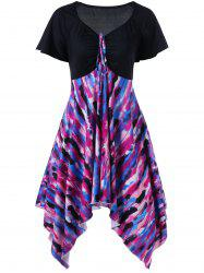 Plus Size Empire Waist Tie Dye Dress - COLORMIX
