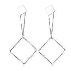 Double Metal Square Drop Earrings