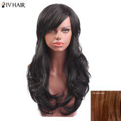 Siv Hair Long Side Bang Slightly Curly Capless Human Hair Wig - AUBURN BROWN #30