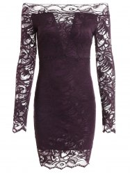 Long Sleeve Off The Shoulder Bodycon Lace Mini Dress - CONCORD