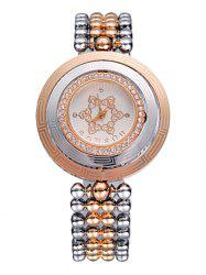 SOUSOU Alloy Strap Rhinestone Round Quartz Watch