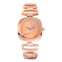 SOUSOU Hollow Out Alloy Strap Quartz Watch