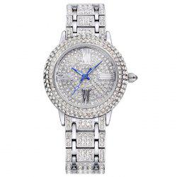 SOUSOU Alloy Strap Rhinestoned Roman Numeral Watch
