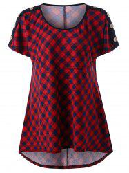 Plus Size Plaid T-Shirt with Button