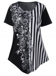 Floral and Striped Plus Size T-Shirt
