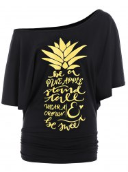 Letters Pineapple Batwing Skew Neck Top - BLACK/GOLDEN XL