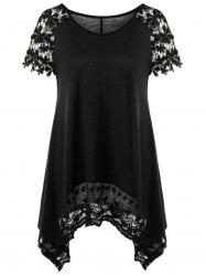 Raglan Sleeve Lace Trim Asymmetric T-Shirt - BLACK