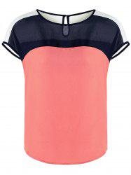 Cap Sleeve Color Block Curved Blouse