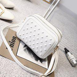 Dual Zips Cross Body Rivets Bag - WHITE