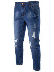 Distressed Zip Fly Faded Jeans