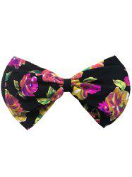 Bowknot Floral Bandeau Bikini Top - BLACK AND RED XL