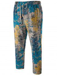 Tie Dyed Drawstring Harem Pants - BLUE