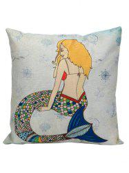 Cartoon Mermaid Square Pillow Case Cover