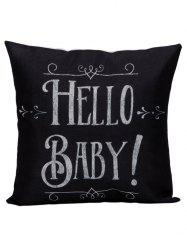 Letter Hello Baby Cushion Linen Pillow Case - BLACK