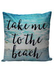 Letter Beach Decorative Throw Pillow Case - LAKE BLUE