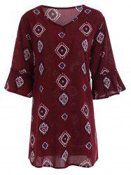 Plus Size Printed Bell Sleeve Chiffon Dress