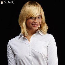 Siv Hair Medium Bob Side Bang Tail Upwards Human Hair Wig