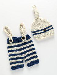 Knitting Baby Sweater Suspender Pants and Striped Beanie