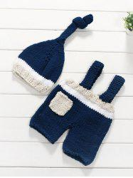 Pocket Baby Sweater Suspender Pants and Knitted Beanie