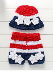 Knitted American Flag Baby Girl Sweater Blanket Set
