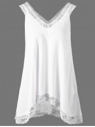 Lace Trim High Low Hem Tank Top - WHITE