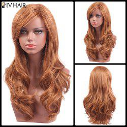 Siv Hair Long Wavy Inclined Bang Capless Human Hair Wig