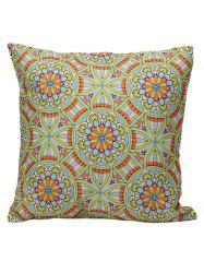 Ethnic Style Flower Print Linen Pillow Cover