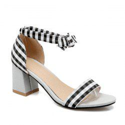 Plaid Ankle Strap Sandals