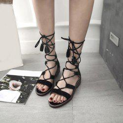 Flat Gladiator Tie Up Flat Sandals - BLACK