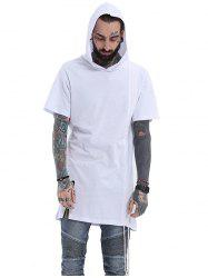 Hooded Side Drawstring Design Zipper T-Shirt