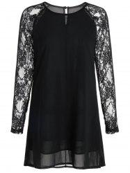 Lace Panel Short Sheer Long Sleeve Dress